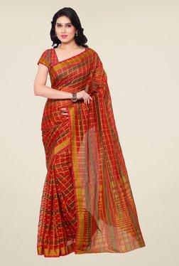 Triveni Red Checks Art Silk Saree