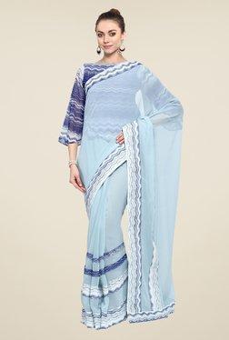 Triveni Sky Blue Printed Faux Georgette Free Size Saree