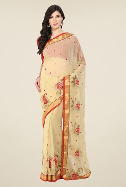 Triveni Beige Embroidered Chiffon Saree