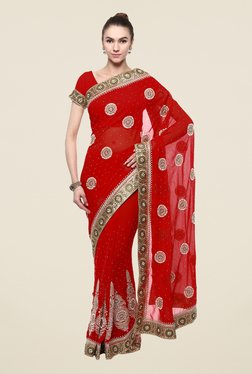 Triveni Red Printed Free Size Saree