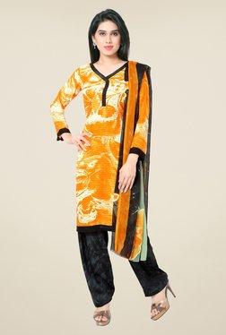 Triveni Orange & Black Printed Faux Georgette Dress Material