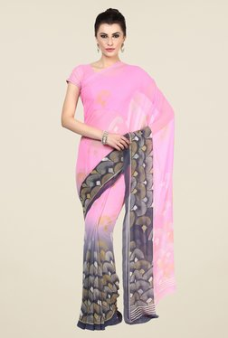 Triveni Pink Printed Faux Georgette Free Size Saree