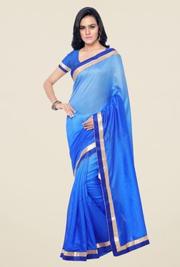 Triveni Blue Solid Jute Silk Saree