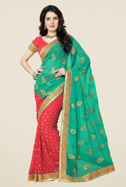 Triveni Red Printed Chiffon Saree