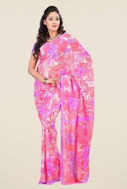 Triveni Pink Faux Georgette Free Size Saree