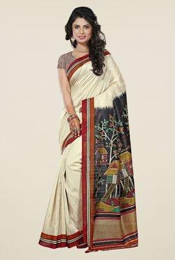 Triveni Cream Printed Art Silk Saree
