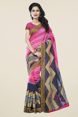 Triveni Pink Printed Art Silk Saree