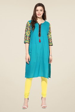Shree Teal Cotton Printed Kurta