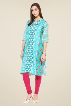Shree Turquoise Cotton Printed Kurta