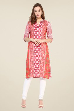 Shree Red Cotton Printed Kurta - Mp000000000402332