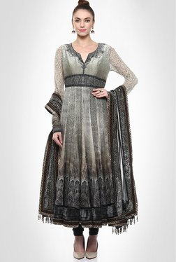 Tarun Tahiliani Designer Wear Grey Anarkali By Kimaya