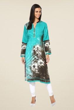 Shree Turquoise Rayon Printed Kurta