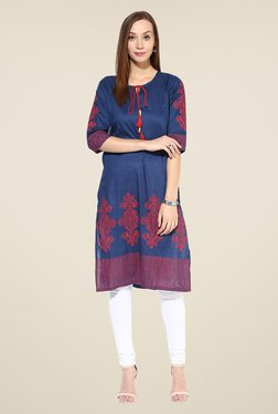Shree Blue Cotton Printed Kurta