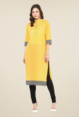 Shree Yellow Cotton Printed Kurta