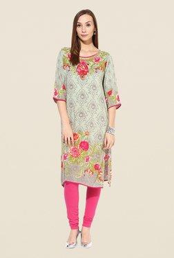 Shree Beige & Pink Rayon Floral Print Kurta