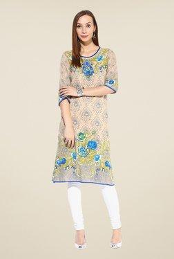 Shree Beige & Blue Rayon Floral Print Kurta