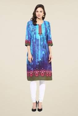 Shree Blue Rayon Printed Kurta