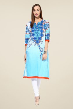 Shree Blue Cotton Floral Print Kurta - Mp000000000401993