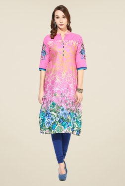Shree Pink Cotton Floral Print Kurta - Mp000000000402691
