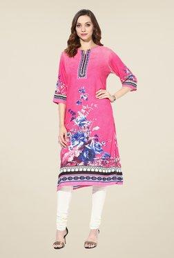 Shree Pink Rayon Floral Print Kurta