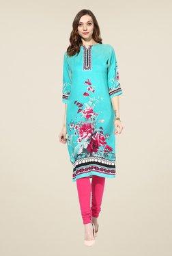 Shree Turquoise Rayon Floral Print Kurta