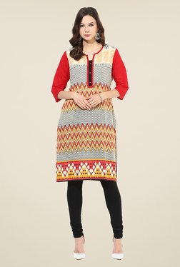 Shree Beige & Red Cotton Printed Kurta
