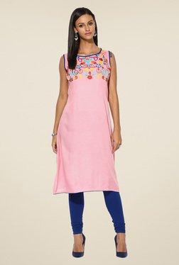 Shree Baby Pink Rayon Embroidered Kurta