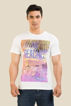 Johnny Bravo At The Beach White Graphic T-shirt