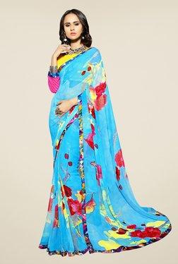 Triveni Sky Blue Floral Print Faux Georgette Saree