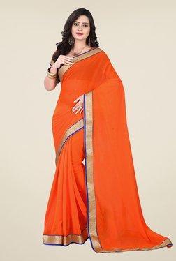 Triveni Orange Chiffon Saree