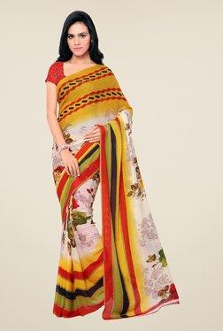 Triveni Multicolor Floral Print Faux Georgette Saree
