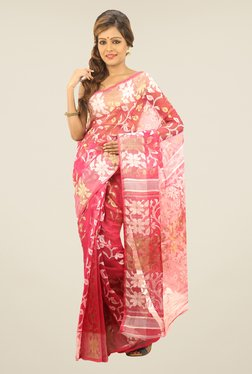 Bengal Handloom Pink Printed Silk Saree