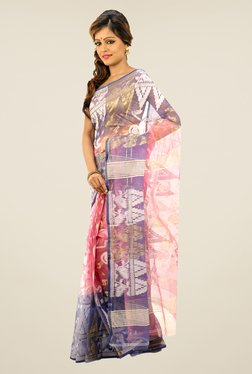 Bengal Handloom Pink & Purple Printed Silk Saree