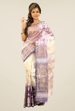 Bengal Handloom Off-white & Purple Printed Silk Saree