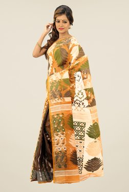 Bengal Handloom Mustard & Green Printed Silk Saree