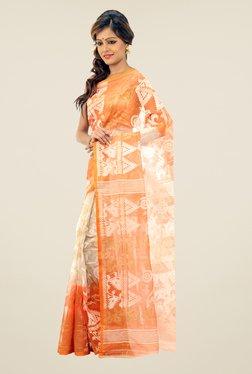 Bengal Handloom Beige & Orange Printed Silk Saree