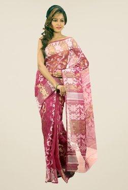 Bengal Handloom Pink Floral Print Silk Saree