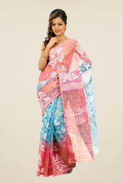 Bengal Handloom Peach & Blue Printed Silk Saree