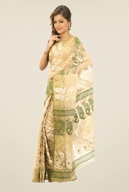 Bengal Handloom Beige & Green Floral Print Silk Saree