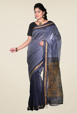 Bengal Handloom Navy Cotton Silk Printed Saree