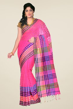 Bengal Handloom Pink Cotton Silk Checked Saree