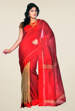 Bengal Handloom Red Cotton Silk Striped Saree