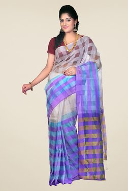 Bengal Handloom Grey & Blue Cotton Silk Checked Saree