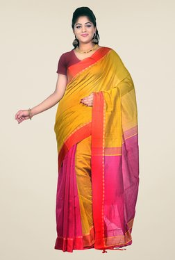 Bengal Handloom Mustard & Pink Cotton Silk Striped Saree