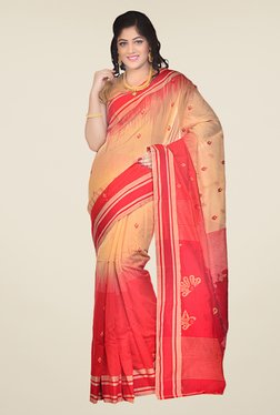 Bengal Handloom Red & Beige Printed Silk Saree
