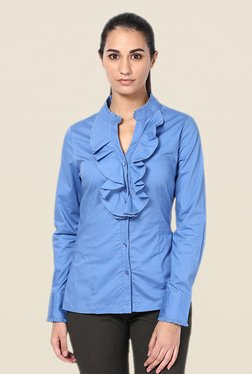 Kaaryah Blue Solid Shirt - Mp000000000404669