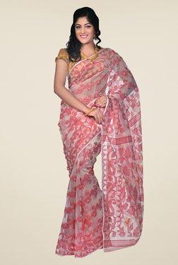 Bengal Handloom Pink Floral Print Saree