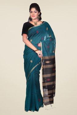 Bengal Handloom Teal Striped Silk Saree