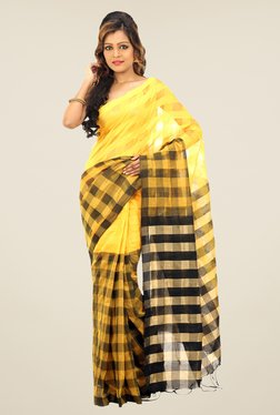 Bengal Handloom Yellow & Black Cotton Silk Checked Saree