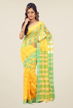 Bengal Handloom Yellow & Green Cotton Silk Checked Saree